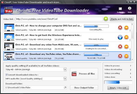 ChrisPC Free VideoTube Downloader Screenshot